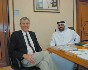 NCAR's Roelof Bruintjes (left) with Abdulla Al Mangoosh, director of UAE's Department of Water Resources Studies.