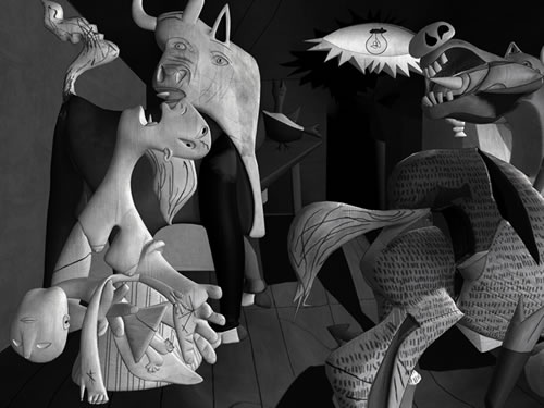 The result is Guernica, a black and white painting that depicts the