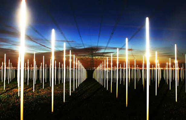 Field of Flourescent Bulbs Powered By Ambient Electricity