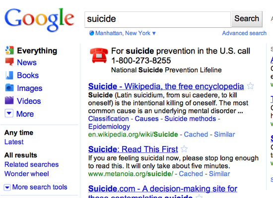 Google Offers Suicide Hotline Info For Suicide Related Searches