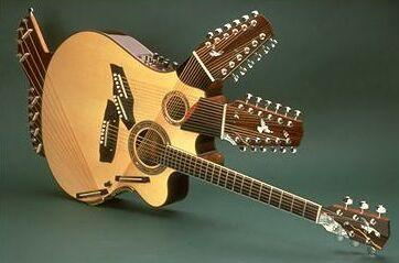 Funky looking 3 neck acoustic-electric guitar Pikasso, made by luthier Linda Manzer for guitarist Pat Metheny