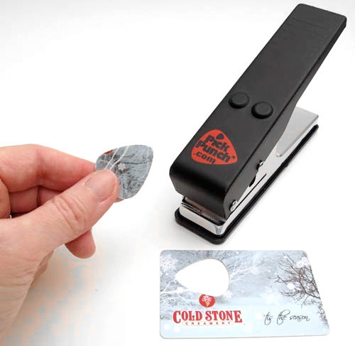 guitar pick from credit card punch