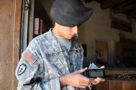 soldier with smartphone