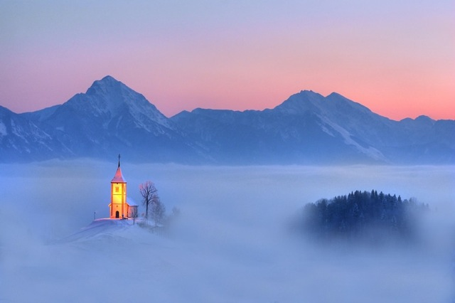 Mountain church floating in clouds 777