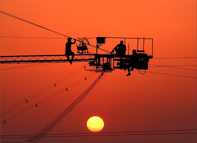 Line Workers at Sunset 498