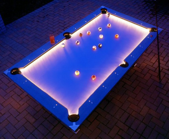 Outdoor lighted pool table 310
