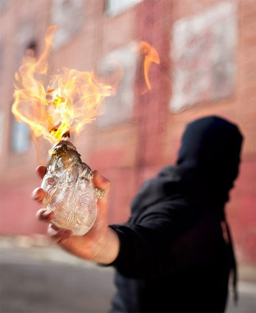 Molotov Cocktail in the shape of a human heart 7m8k