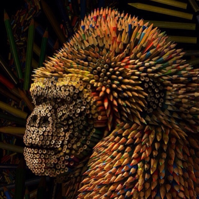 Gorilla made out of colored pencils 5t4r