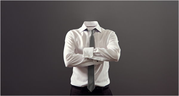 invisible man standing with folded arms over his chest against grey background