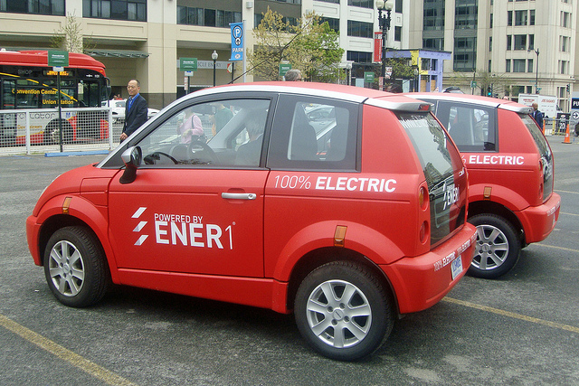 Th!nk City electric cars at a test drive event, Washington DC