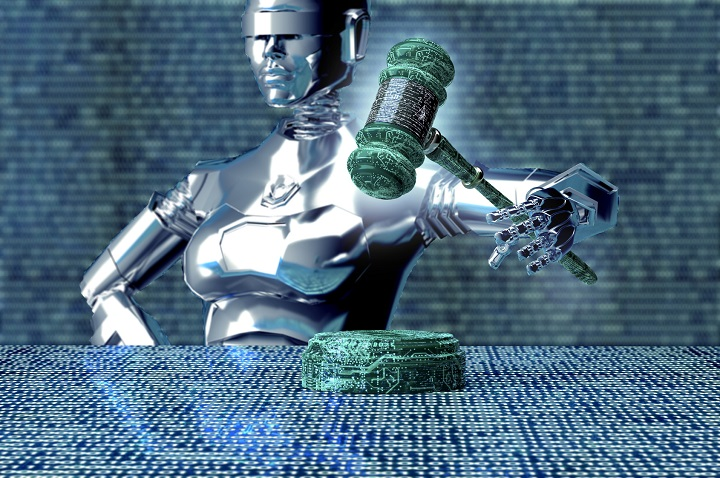 legal computer judge concept, robot with gavel,3D illustration