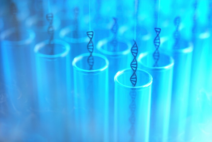 Test tubes with dna strands, illustration
