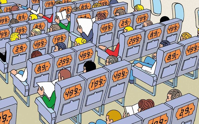 People on aeroplane all paying different fares for seats