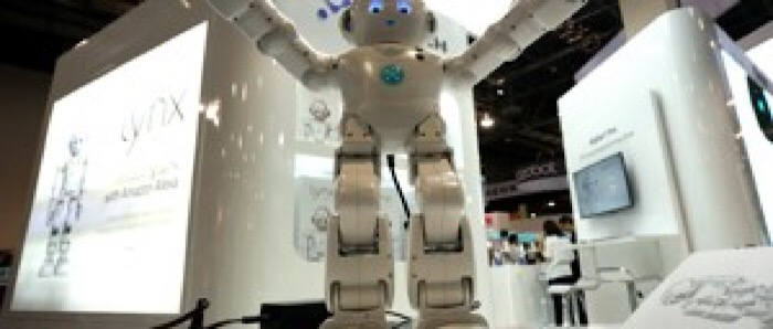 A Lynx robot with Amazon Alexa integration is on display at the Robotics Marketplace at CES in Las Vegas