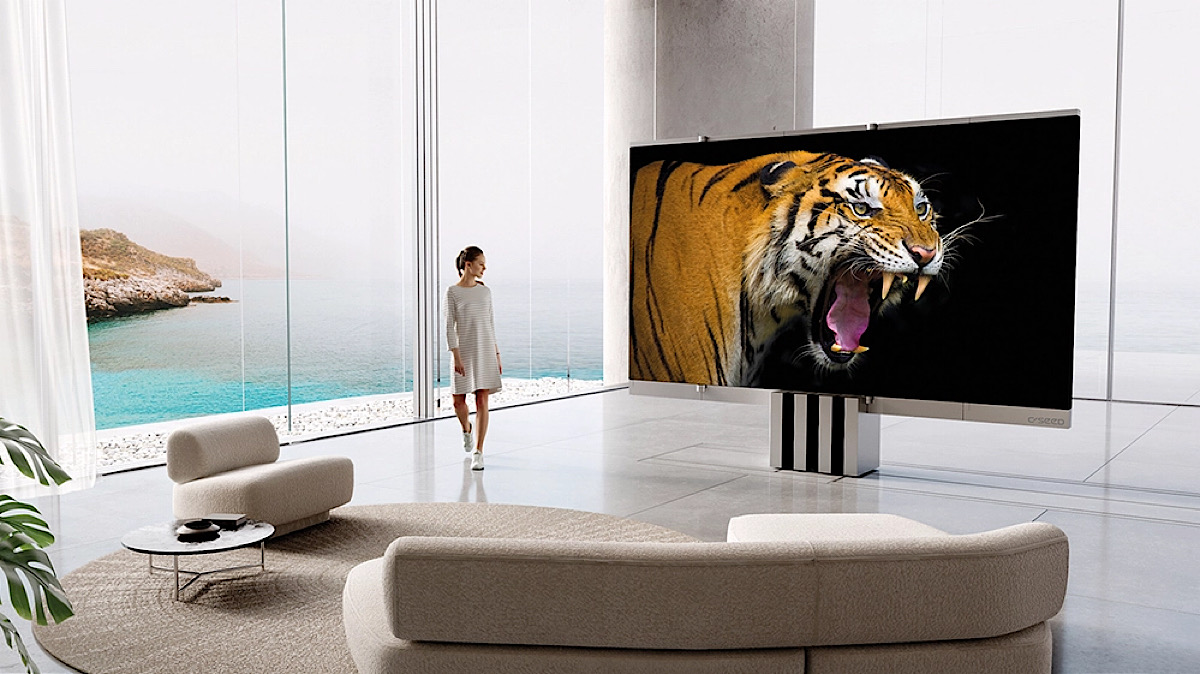 This Gigantic 165-Inch MicroLED TV Folds Into Nothing When the Game Is Over