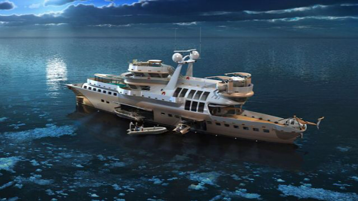 This Futuristic, 200-Foot Hybrid Expedition Yacht Concept Can Go 6,000 Miles on a Single Tank