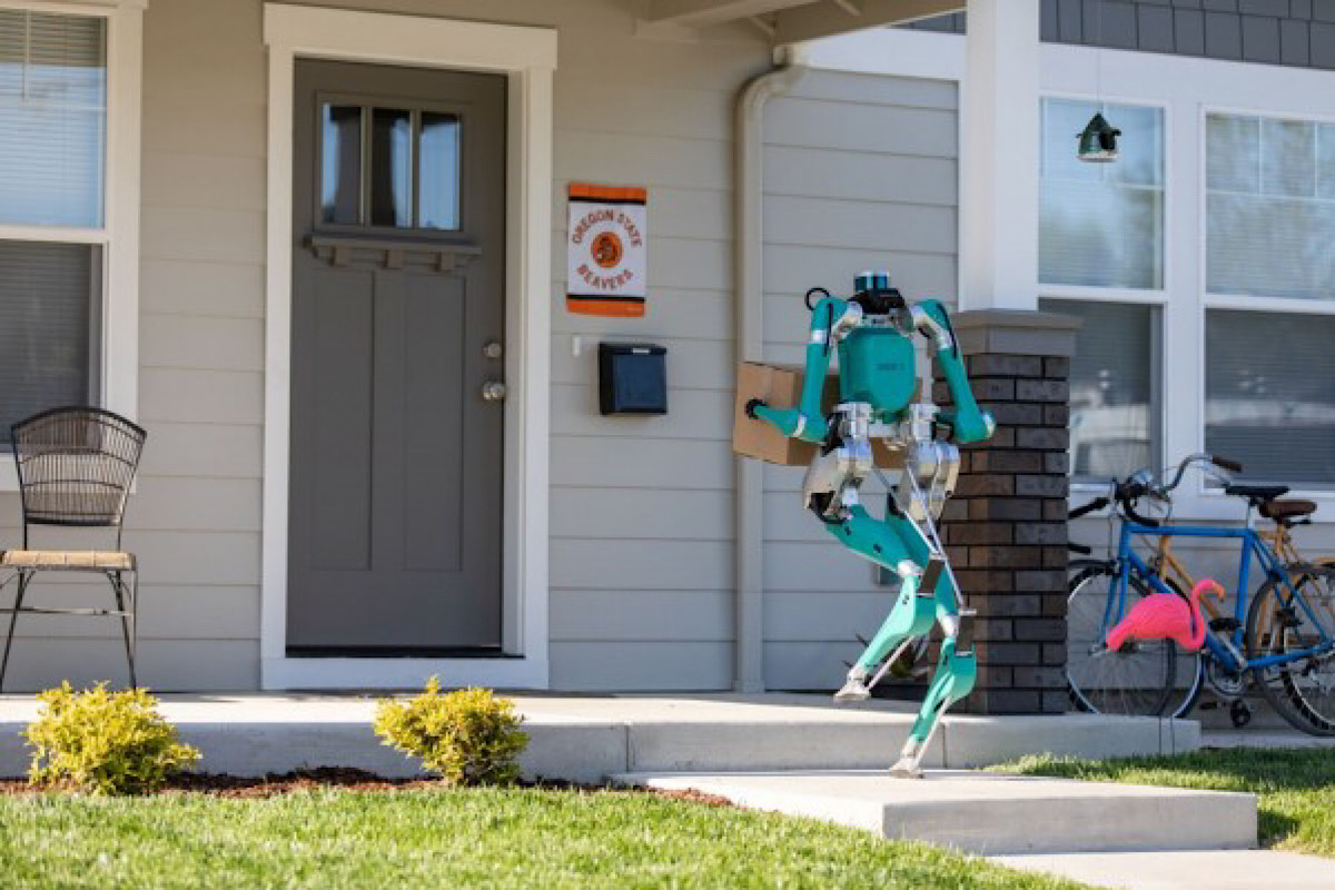 Agility Robotics 'Delivery Robot' Knocks at Door to Bring Package, Avoiding Face-to-Face Interaction